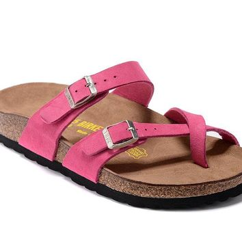 Newest Hot Sale Mayari Birkenstock 805 Summer Fashion Leather Beach Slippers Casual Sandals For Women Couples Slippers color Rose Red size 34-41