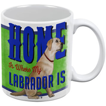 Home is Where My Yellow Lab Retriever Is White All Over Coffee Mug