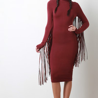 Mock Neck Long Fringe Midi Dress