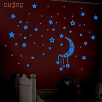 SP 21   2017 Hot Selling  A Set Kids Bedroom Fluorescent Glow In The Dark Stars Wall Stickers 421
