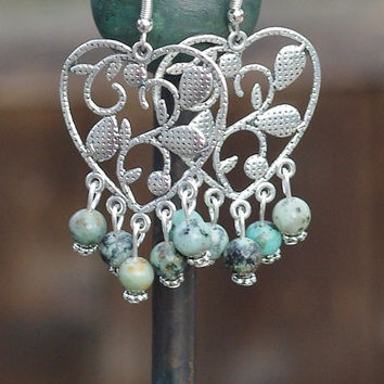 African Turquoise Heart Earrings ~ Heart Chandelier Earrings ~ Semi Precious Stones ~ Natural Stone Jewellery ~ Boho Style ~ Sweetheart Gift