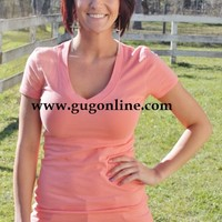 Solid Fitted VNeck Tee Many Color Choices