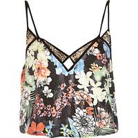 River Island Womens Black Pacha floral print cami top