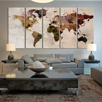 Map Art - Large Canvas Print Rustic World Map, Large Wall Art, Extra Large Vintage World Map Print for Home and Office Wall Decoration - MC148