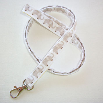 Lanyard  ID Badge Holder - Lobster clasp and key ring - mini gray elephants