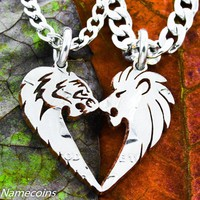 Lion and Tigress His and Hers Couples Coin Necklaces by Namecoins