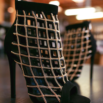 Suede Chain Caged Cutout Peep Toe Stiletto Heel | UrbanOG