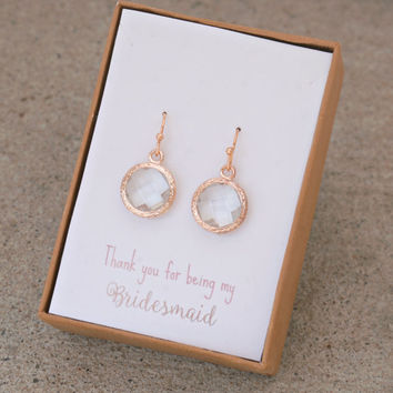 Rose gold earrings,Bridesmaids Gifts,Bridesmaids Earrings,Wedding Jewelry,Rustic wedding,Tie The Knot,Personalized Bridesmaid gifts