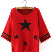 Red Stars Print Striped Knitted T-shirt