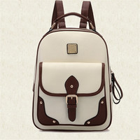 Leather College Style Backpack