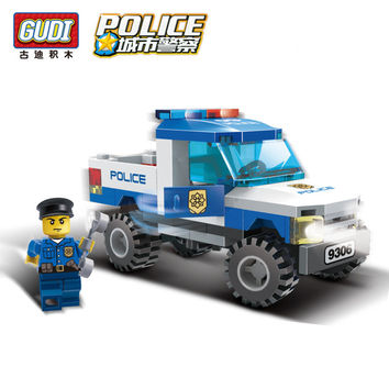 GUDI City Police Truck Car Blocks Toys Assembled Model Building Kits Blocks Toys Christmas Gift Toys for Children Boys 9306