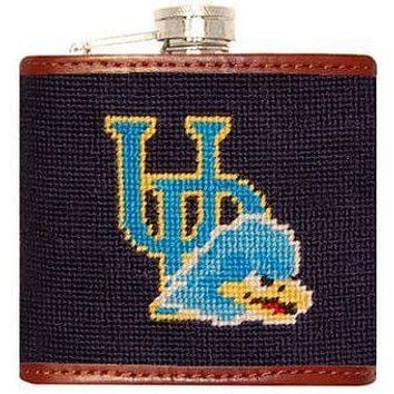 University of Delaware Needlepoint Flask in Navy by Smathers & Branson