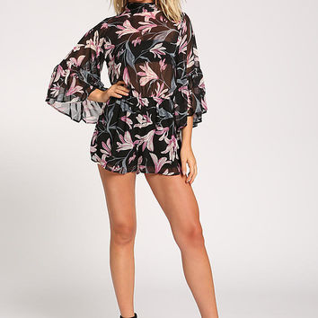 Black Floral Bell Sleeve Flared Chiffon Romper