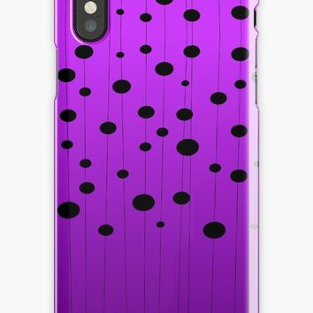 'Black ovals, dots on strings purple pattern' iPhone Case by cool-shirts