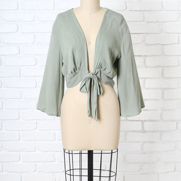 Sage Green Cropped Wrap Top