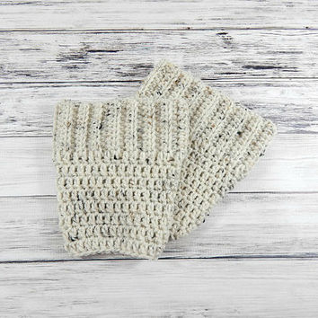 Winter Boot Cuffs, Womens Boot Toppers, Oatmeal Cuffs, Knit Boot Cuffs, Crochet Boot Sleeves, Vegan Boot Cuffs, Oatmeal Socks, Crochet Socks