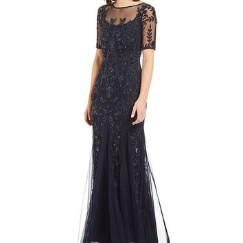 Adrianna Papell Beaded Sleeve Gown | Dillards
