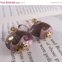 20% off sale Pink & Gray Swirl, Round Bead Earrings, gift, ceramic, jewelry,