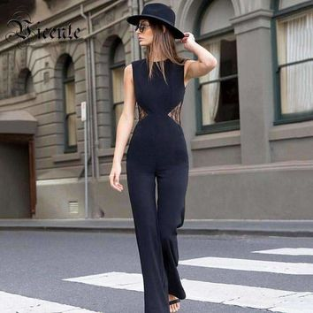 Graceful Back Lace Sleeveless Bell-Bottoms Party Women Jumpsuit