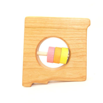 NEW MEXICO State Baby Rattle - Modern Wooden Baby Toy - Organic and Natural