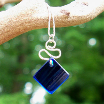 Bottled Up Cobalt Glass Ribbon Necklace