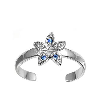 Sterling Silver Flower 8MM  Toe Ring/ Knuckle/ Mid-Finger CZ Sapphire CZ