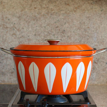 Vintage Cathrineholm Lotus Design Enamelware 9 Quart Stock Pot - Red Orange