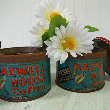 Antique Shabby Set of Maxwell House Coffee Cans - Rusty Crusty Colorful Metal Advertising Canisters - Vintage Rustic Kitchen Tins with Lids