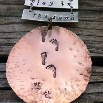 Hand Stamped and Hammered Mixed Metal Custom Resortwear Necklace-Vacation Accessory-Play in the Sand-Beachwear