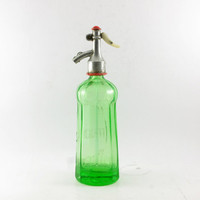Rare Luminous green Seltzer Bottle, Antique Soda Bottle, Shabby Chic Decor