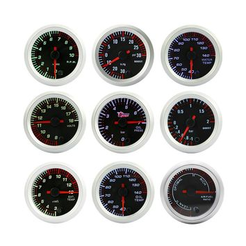 "2"" 52mm Tinted 7 Color Electrical Boost Water temp Oil temp Oil press Voltmeter EGT Air Fuel Tachometer Gauge Car meter"