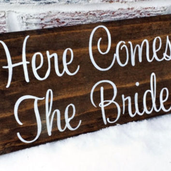 Rustic wedding signs, Southern Wedding Decor, Here Comes the Bride flower girl wedding signs, dark wood country signs, Ceremony signs