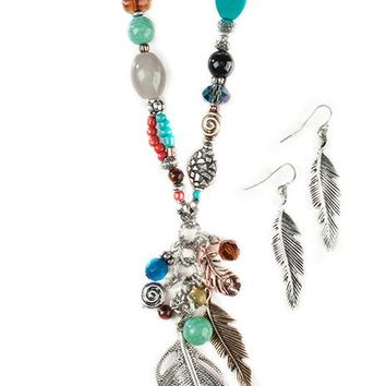 Necklace and Earring Set - Feather & Turq Beads
