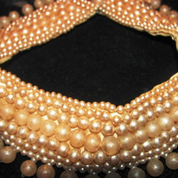 Beaded Collar, 1940's Pearl Beaded Necklace Hand Beaded Collar, Victorian, Great addition to your Victorian Wedding, bride, wedding, Pearls