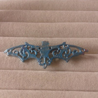 Closing sale- blue metallic  bat vampire   brooch  pin - gothic, lolita