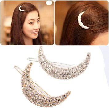 FAMSHIN 2017 New Newest Crystal Moon Rhinestone Hair Accessories For Women,Hair Clips For Girls Headdress Hairpin Clamps