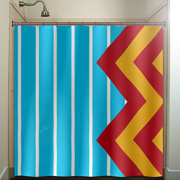 Large Blue Stripe Yellow Red Giant Chevron Shower Curtain Bathro