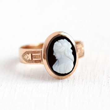Antique Cameo Ring - 10k Rose Gold Carved Black & White Onyx Engraved Till Death Us Part - 1890s Size 8 Victorian Memento Mori Fine Jewelry