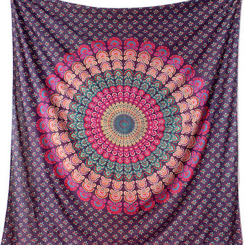 LARGE Mandala Hippie Wall Tapestry Fabric Throw Wall Hanging Bedding Bedspread Bohemian Boho Ethnic Decor Art - FabricSarmaya