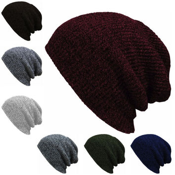 1PC Knit Men's Baggy Beanie Oversize Winter Warm Hats Ski Slouchy Chic Crochet Knitted Cap for women girl's hat thick female cap