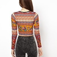 Daisy Street Crop Top in Tapestry Print at asos.com