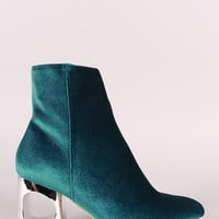 Crushed Velvet Circle Cutout Chunky Heeled Ankle Boots