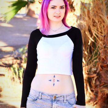 Long Sleeve White and Black Raglan Crop Top / Cropped Baseball Tee / Made in USA