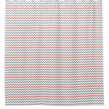 Gray Coral White Chevron Shower Curtain