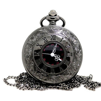 deals] Antique Vintage Steampunk Watch Retro Quartz Necklace Pendant Pocket Watch (Color: Grey) = 5987988161