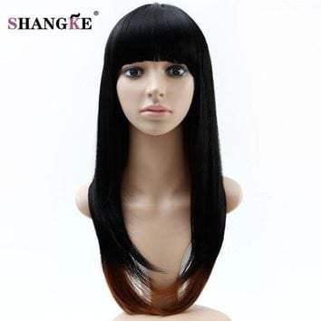 ESBONT SHANGKE Long Ombre Colorful Wigs For African Americans Heat Resistant Synthetic Wigs For Black White Women Natural Fake Hair