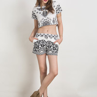 Black Tile Print Short Sleeve Crop Top And Shorts