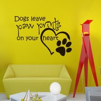 Vinyl Wall Decals Quotes Quote About Dog Dogs Leave Paw Prints on Your Heart Sticker Home Decor Art Mural Z588