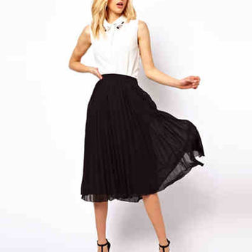 High Waist Solid Color Double Layer Pleated Midi Skirt