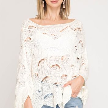 Ivory Batwing Scallop Hem Sweater